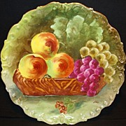 "Remarkable Limoges Porcelain 10 ¾"" Charger ~ Hand Painted with Fruit in Basket ~ Artist Signed ~ Limoges France / Flambeau China  1890-1914"