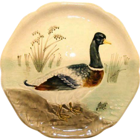 Beautiful Majolica Pottery Cabinet Plate ~ Decorated with a Mallard Duck and Frog ~  H Boulenger & CO France ~ 1860-1910