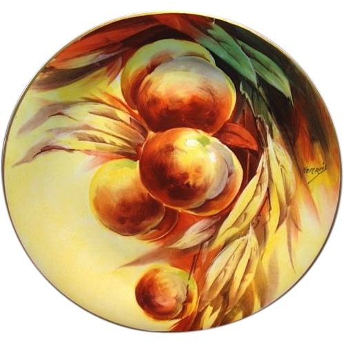 "Enamoring 11 ¾"" Limoges Porcelain Charger / Plate ~ Hand Painted with Ripe Peaches ~ Artist Signed ~ Limoges France / Lazeyras Rosenfeld & Lehman Limoges 1891+"