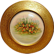 PICKARD Bavarian Porcelain 10 7/8'' Gold Embossed Cabinet Plate with Nasturtium Floral Design ~ PICKARD  Heinrich & Co Selb BAVARIA ca. 1920's