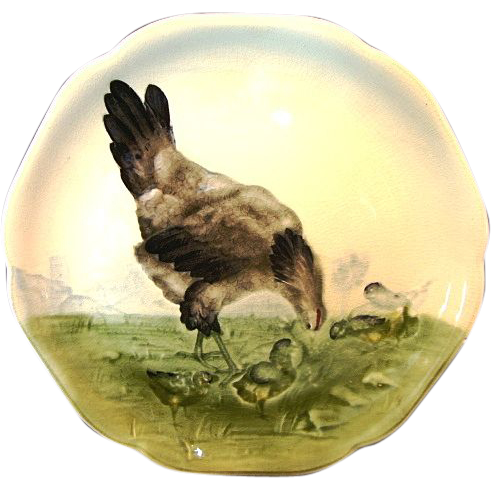 adorable majolica faience cabinet plate with hen and from timberhillsantiques