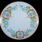 Exquisite Limoges Porcelain Cabinet Plate ~ Factory Decorated ~Hand Painted with Blue Flowers and Gold Cartouches ~ Artist Signed ~ Haviland France 1893-1930