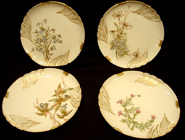 Set of 4 Limoges Porcelain Cabinet Plates ~ Hand Painted with Flowers & Berries ~ Jean Pouyat JPL France 1891-1932