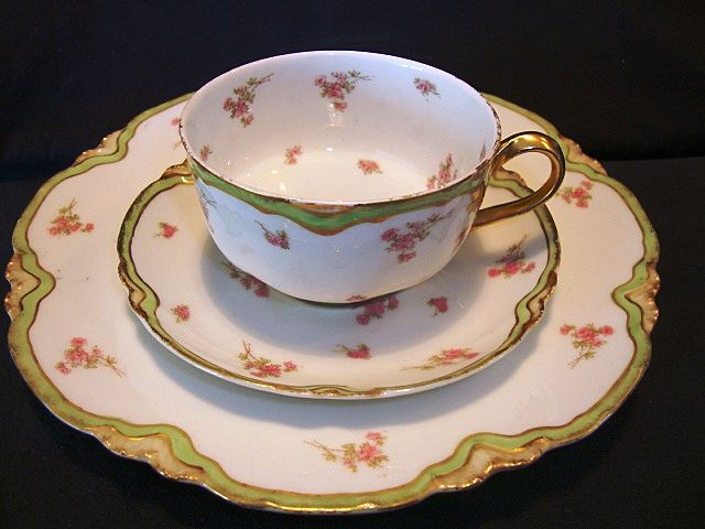 Delicate Limoges Porcelain Trio Set ~ Cup, Saucer and Plate ~ Factory Decorated ~ Peridot Green and Pink Flowers ~ Haviland France 1876 -1930