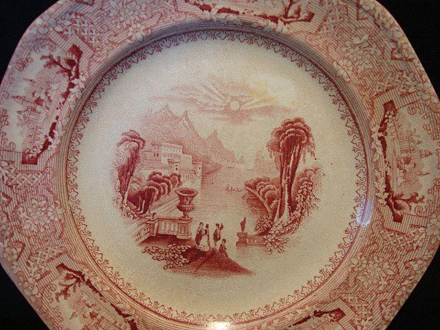 Fantastic 162 Yr Old English Ironstone Cabinet Plate ~ Columbia Pattern ~ Pink / Red Transfer ~ John Wedge Wood ~ Tunstall Staffordshire England 8/23/1848