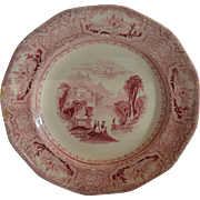 50% OFF Fantastic English Ironstone Cabinet Plate ~ Columbia Pattern ~ Pink / Red Transfer ~ John Wedge Wood ~ Tunstall Staffordshire England 8/23/1848