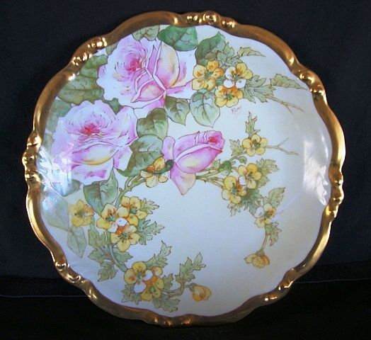 "Awesome 12 ½"" Limoges Porcelain Charger ~ Hand Painted with White with Pink Roses and Yellow Flowers ~ Factory Decorated ~ Artist Signed ~ Bawo Dotter / Elite 1896-1914"