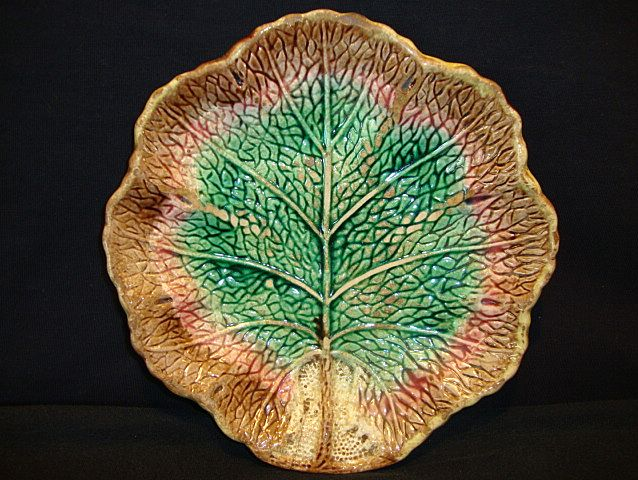 Wonderful Old Majolica Leaf Plate in Fall Colors~ Unattributed