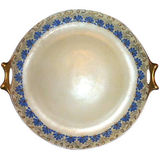 "Beautiful Bavarian Art Nouveau  12"" Cake Plate /Tray Hand Painted with Enamel Design –Signed -  L. Hutschenreuther  1856-1920"
