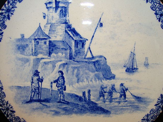 Nice French Ironstone Cabinet Plate ~ With Fishing Scene ~ HAUTIN & BOULANGER (or BOULENGER) (Choisy-le-Roi, France) - ca 1890 - ca 1930s