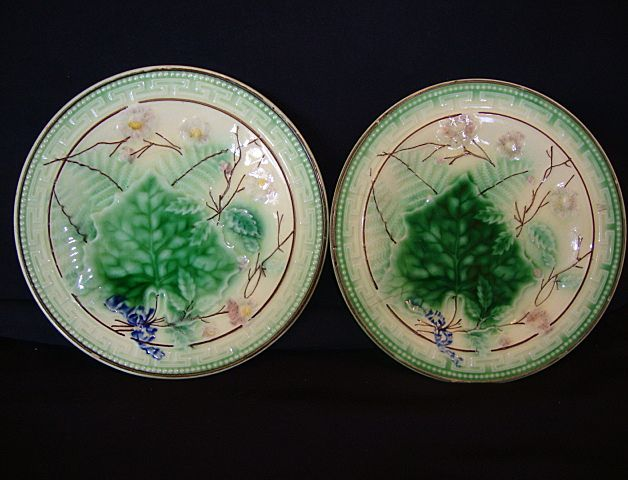 (2) Wonderful Majolica Plates with Leaf and Fern Design.