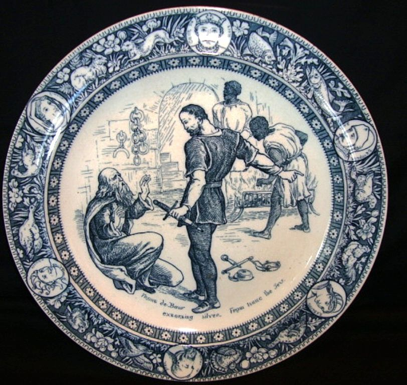 Rare English Blue and White Cabinet / Dinner Plate ~ Ivanhoe ~ Wedgwood England  Late 1800's