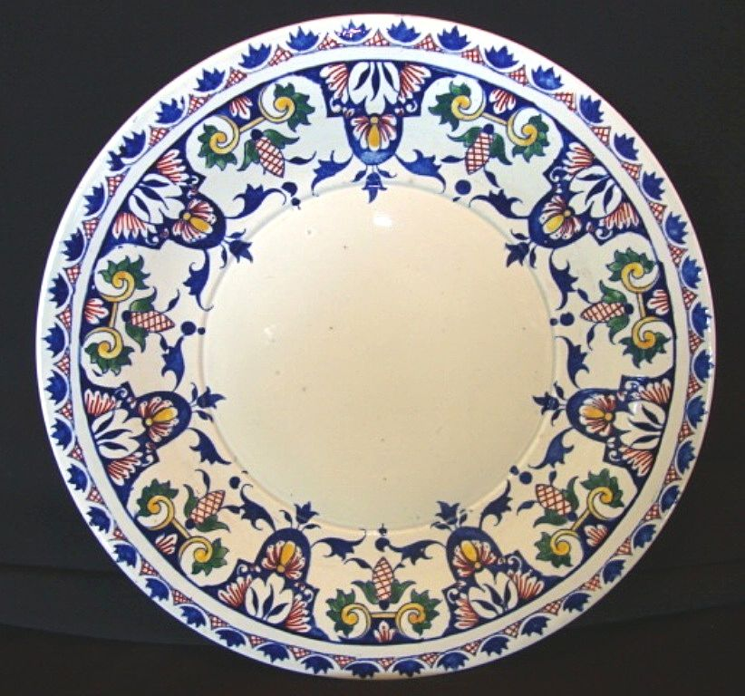 "Beautiful 12"" Gien French Faience Charger ~ Hand Painted with Royal Blue, Red, Yellow and Green Designs ~  PORCELAINE DE GIEN -  1860-1871"