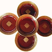 "Set of (5) Astonishing 8"" French Faience Cabinet Plates ~ Burgundy with Gold Lace Design ~ Sarreguemines France 1889-1922"
