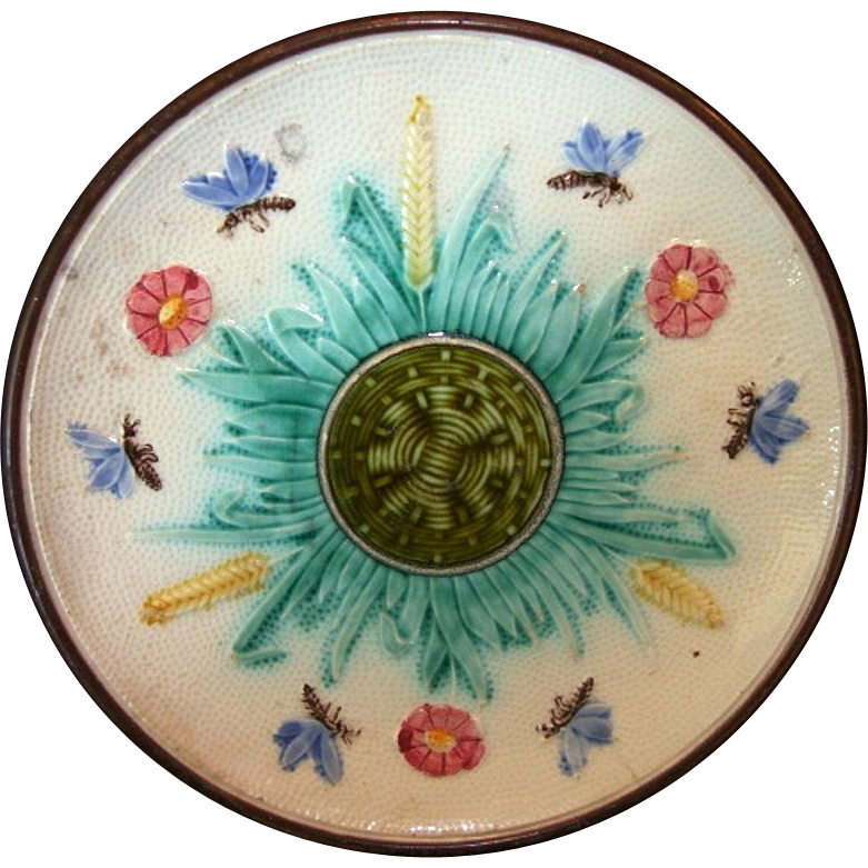 Unique Majolica Cabinet Plate ~ Design of Basketweave, Butterflies & Flowers ~ unattributed