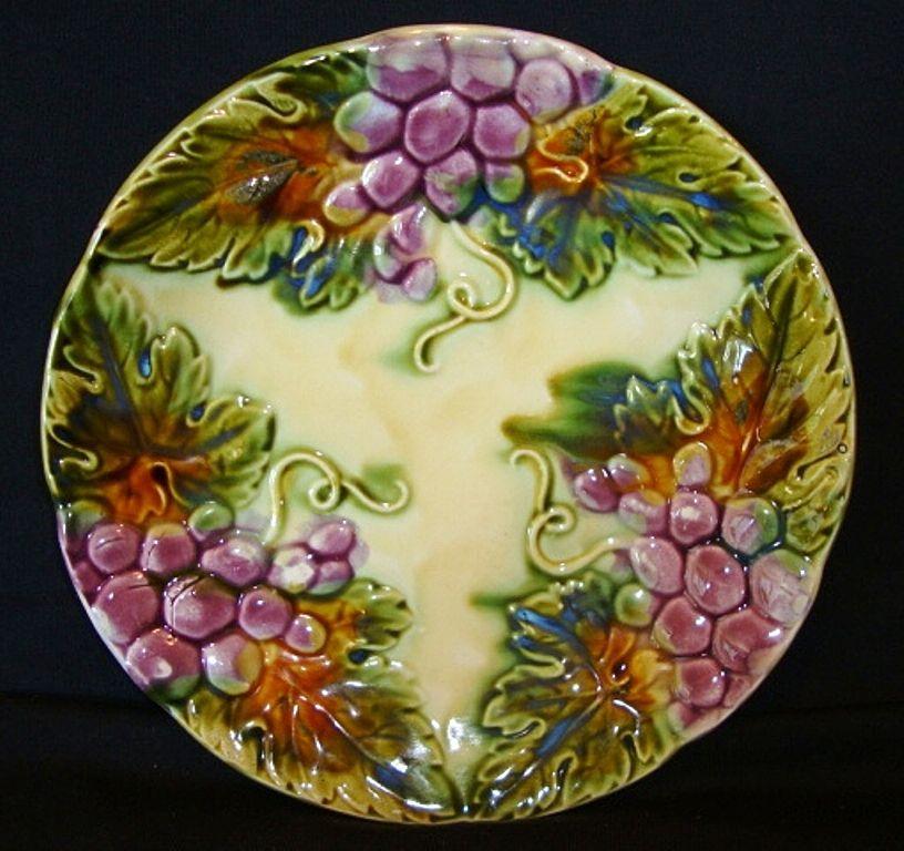 Beautiful Majolica Cabinet Plate with Grape Motif