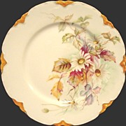 Charming Limoges Porcelain Cabinet Plate ~ White Daisies and Magenta Leaves ~ Haviland & Co 1888-1896