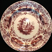 Fantastic 176 Yr Old English Aesthetic Earthenware Mulberry (Purple) Cabinet Plate ~ Marmora Pattern ~ William Ridgway ~ Staffordshire England 1834 – 1854