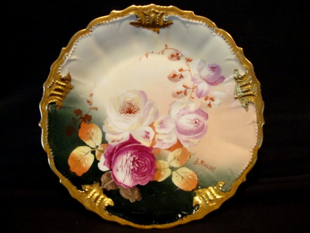 Astonishing Limoges Porcelain Cabinet Plate ~ Hand Painted with Roses by J Marsat ~ Limoges France / Blakeman & Henderson  1891+