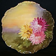 "Decorative Limoges Porcelain Cabinet Plate ~ Hand Painted with Pink & Yellow Mums by "" Leon "" ~ Flambeau China 1890-1900"
