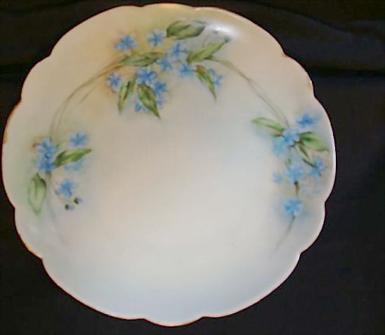 "Exceptional Bavarian Porcelain Cabinet Plate ~ Hand Painted with Blue Flowers ~ Artist ""Lebovitz"" Signed ~ Bavaria 1910"