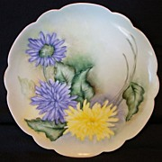 "Exceptional Bavarian Porcelain Cabinet Plate ~ Hand Painted with Yellow  & Purple Spider Mum Flowers ~ Artist ""Lebovitz"" Signed ~ Bavaria 1910"