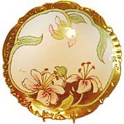 Gorgeous Limoges Porcelain Cabinet Plate ~  Studio Decorated with Lilies and Gold ~ Artist Signed  ~Bawo & Dotter Elite Works / Pitkin & Brooks Chicago IL 1900-1914