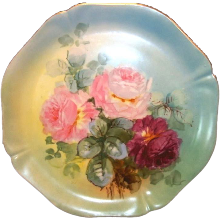 "Magnificent 14"" Limoges Porcelain Charger ~ Hand Painted with Pink & Magenta Roses ~ William Guerin Limoges France 1900-1905"