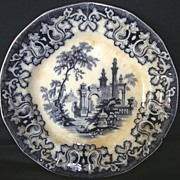 Fantastic 175 Yr Old ~ 14 sided ~ English Earthenware ~Blue Black Transferware ~Pattern: Athens ~ By Charles Meigh England 1835-1849