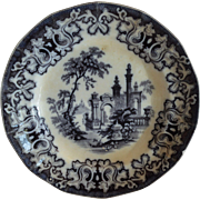 14 sided ~ English Earthenware ~Blue Black Transferware ~Pattern: Athens ~ By Charles Meigh England 1835-1849