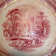 "Amazing Old English Ironstone 10"" Cabinet Plate ~ Corinthia Pattern ~ Pink / Red Transfer ~ E Challinor England ~ 1842-1867"