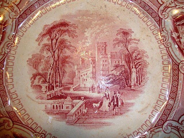 "Amazing Old English Ironstone 10"" Cabinet Plate ~ Corinthia Pattern ~ Pink / Red Transfer ~ E Challinor England ~ 1842-1867"