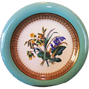 English Porcelain Plate ~over 150 yrs old ~ Robin Egg Blue Rim and Royal Blue and Yellow Flowers ~ W.T. COPELAND & SONS Ltd [COPELAND - SPODE] (Staffordshire, UK) - ca 1851 - 1855