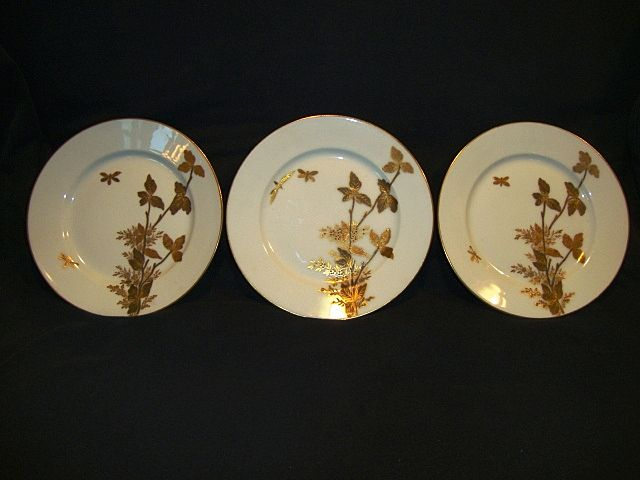 "3 - Fantastic Limoges Porcelain ~  6 ¾"" Cabinet Plates ~ Gold Embossed Foliage and Butterflies ~ Charles Field Haviland GERARD, DUFRAISSEIX, and MOREL Limoges France 1870-1890"