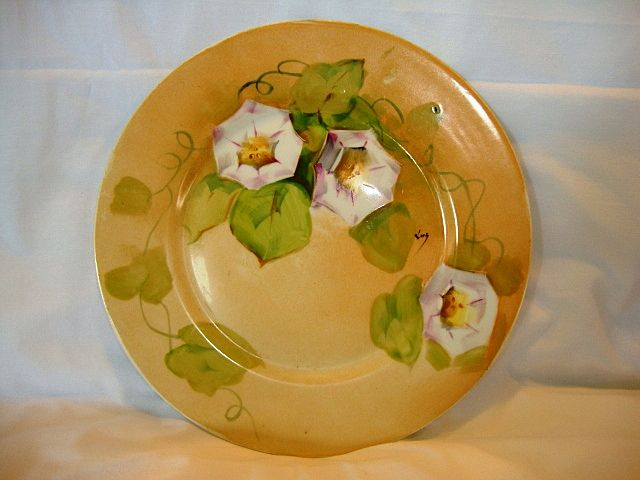 "Beautiful Limoges Porcelain Cabinet Plate ~ Hand Painted with Pink and White Morning Glories Signed by Artist ""LUC"" - Blakeman & Henderson Limoges France 1890-1910"