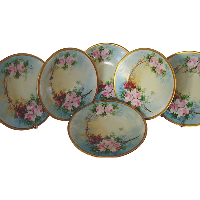 "WONDERFUL Set of (6)  8 ½"" Limoges Porcelain Plates ~ Hand Painted with Pink & Red Roses ~ Jean Pouyat Limoges France 1890-1932"