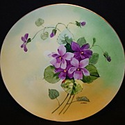 "Stouffer Studio Decorated ~ Limoges Porcelain Cabinet Plate ~ Hand Painted by ""Pfohl"" ~ Purple Violets ~ Haviland France  / Stouffer Studio Chicago IL 1906-1914"