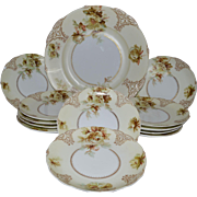 "Rare German Luncheon or Dessert Set ~ 12 Plates and 13 ½"" Platter ~ Old Ivory VII ~ Clarion Mold ~ Hermann Ohme Silesia Germany 1900-1920"