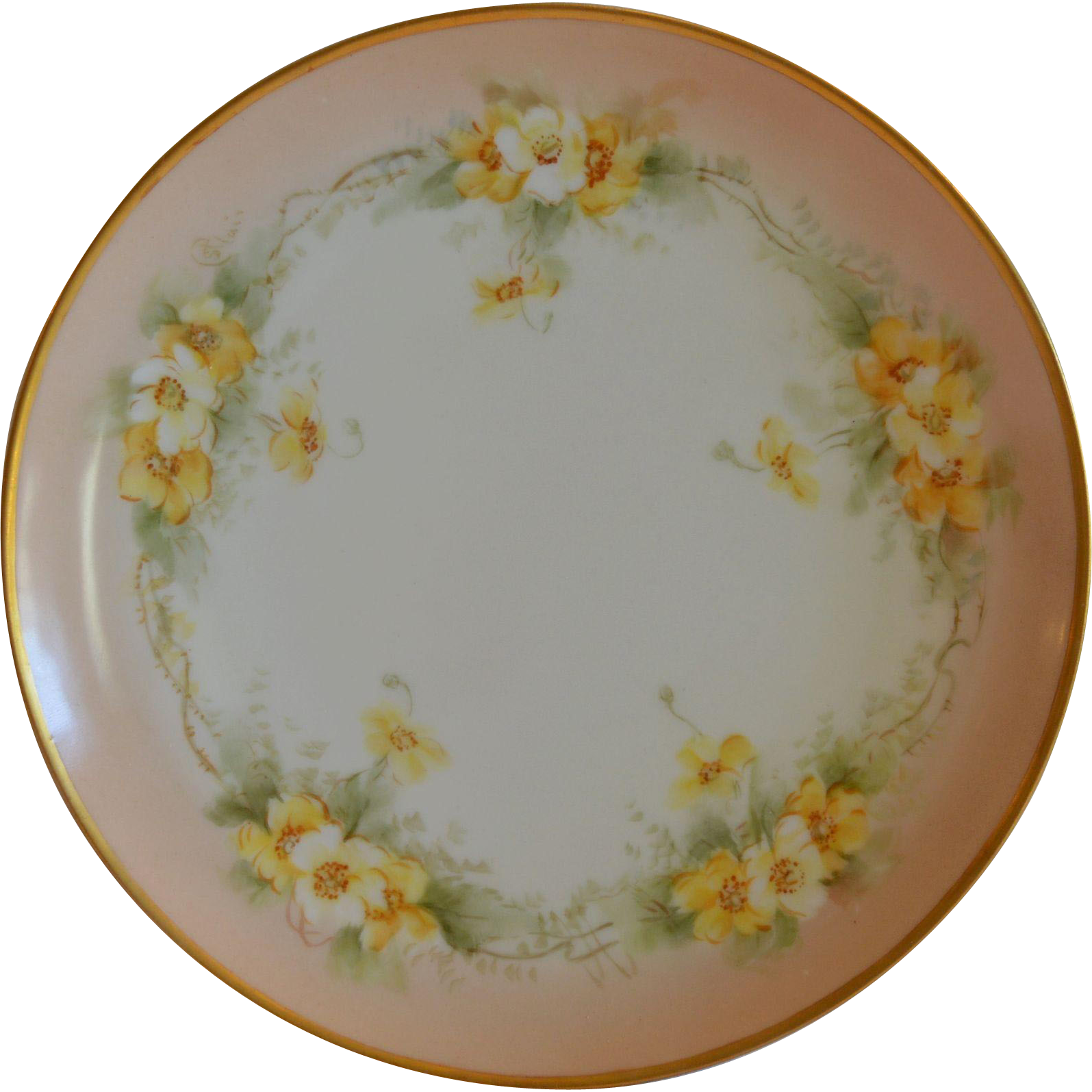 Hand Painted Limoges Plate with Beautiful Yellow Roses ~ signed St. Clair ~ Haviland France 1894-1931
