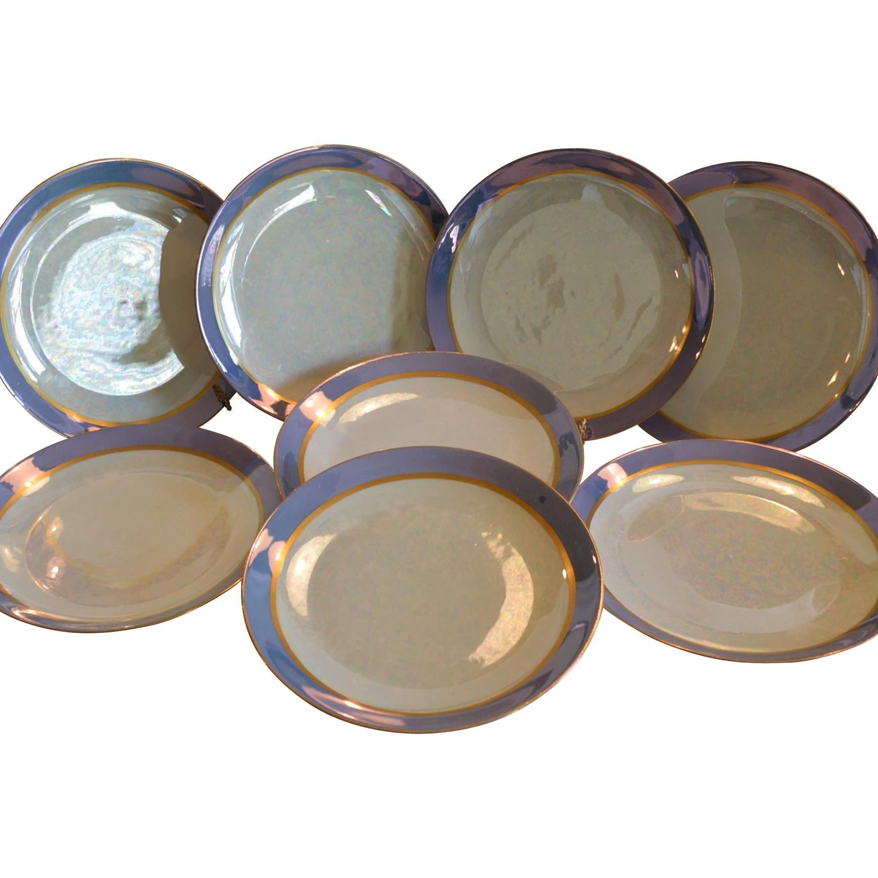 "Set of 8 Bavarian Porcelain Plates ~ 8"" ~ Hand Painted Luster - L. HUTSCHENREUTHER (Selb, Bavaria, Germany) - ca 1925-1939"