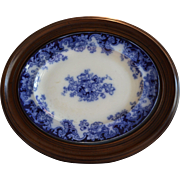 "Flow Blue Platter in Walnut Frame ~ 24"" x 20"" ~ Transfer of Anemones Flowers ~ 1800's"
