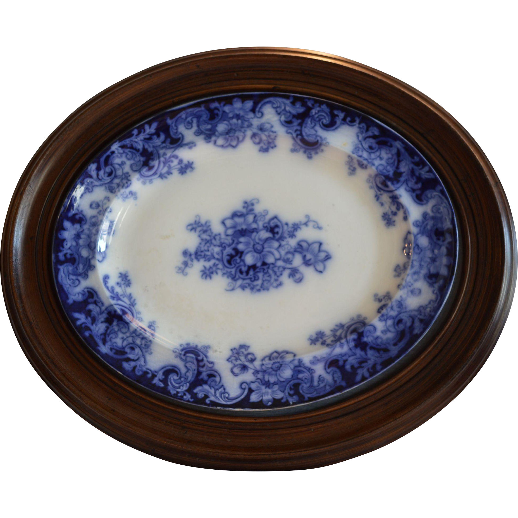 "REDUCED! Flow Blue Platter in Walnut Frame ~ 24"" x 20"" ~ Transfer of Anemones Flowers ~ 1800's"