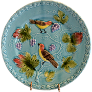"Great 9 ¼"" German Majolica Turquoise Plate~ Birds, grapes and Leaves ~ ZELL United Ceramic Factories - GEORG SCHMIDER (Germany) - ca 1907 – 1928"