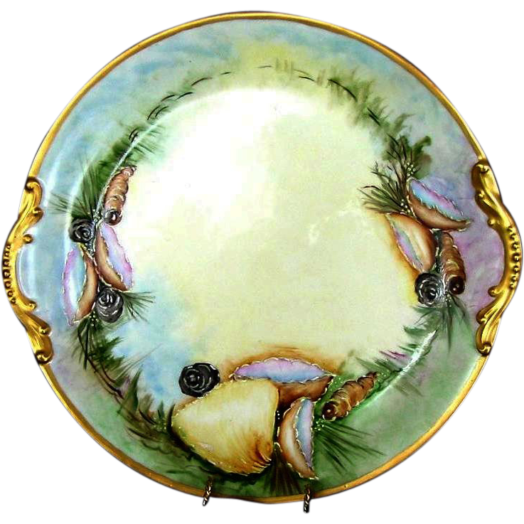 50% OFF! Fabulous, Rare Limoges Porcelain SEA SHELL 13'' TRAY OR PLATTER Hand Painted with Underwater Sea Life Scenes –Artist Signed  - Paroutaud Freres -1903-1907