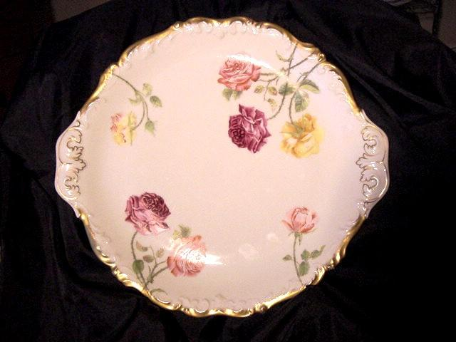 50% OFF! Double Handled 14 1/2'' Limoges Porcelain Platter  - Hand Painted with Yellow, Red & Pink Roses – T&V Limoges 1907