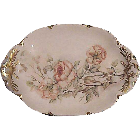 50% OFF! Lovely Limoges 13 1/2'' Platter ~ Hand Painted with Smokey Peach and White Roses ~ Artist Initialed ~Haviland & CO 1889-1896