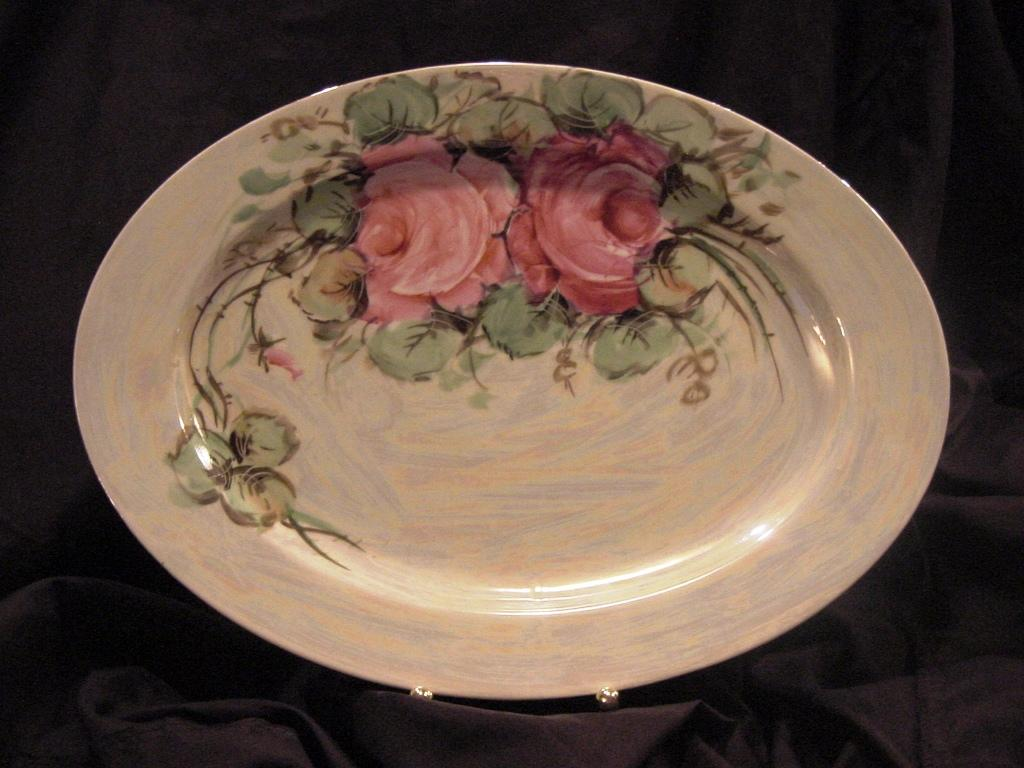 Beautiful Bavarian Porcelain Platter 14'' ~ Hand Painted with Roses and Pearl Luster ~ Zeh Scherzer & Co 1880+