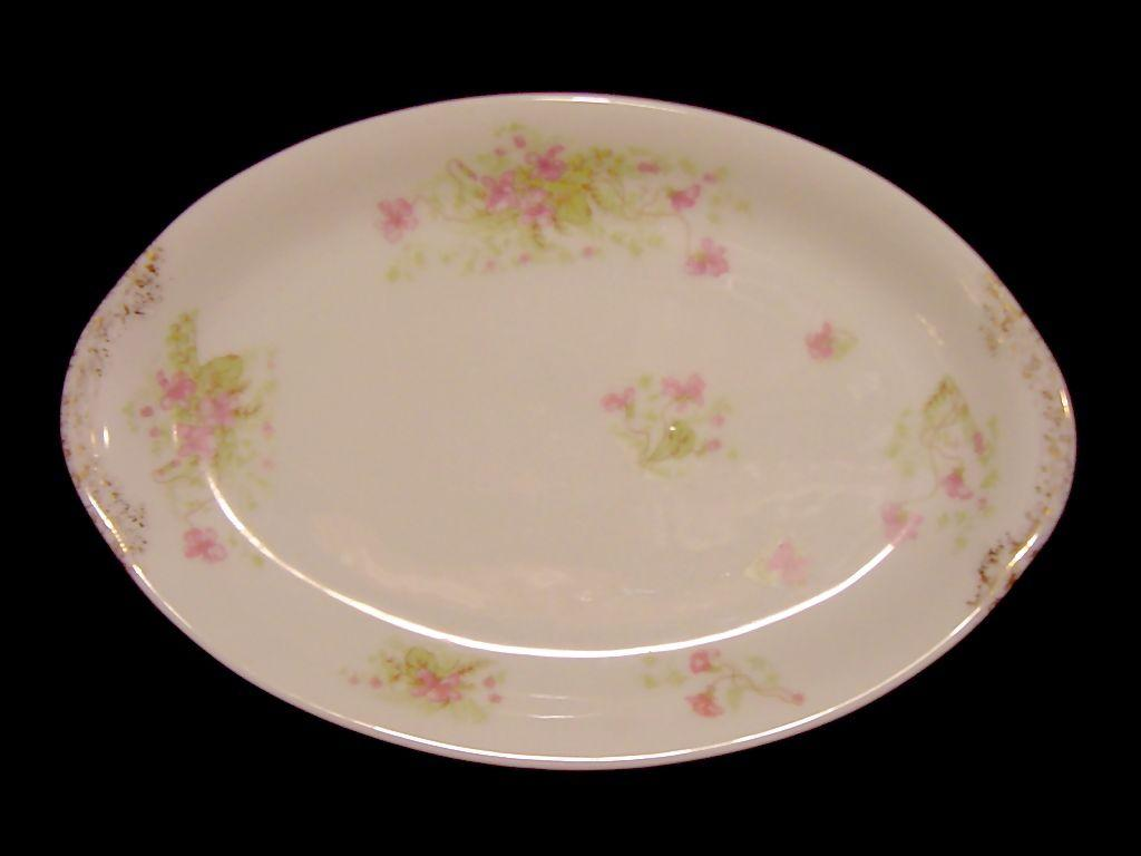 Small Platter / Tray ~ French Porcelain ~ Factory Decorated with Pink Wispy Flowers ~ ALFRED HACHE & CO (Vierzon, France) - ca 1903