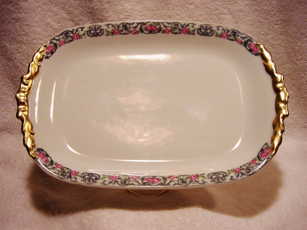 50% OFF! Ice Cream Platter / Tray ~   Limoges Porcelain Factory Decorated with Pink Roses ~ Jean Pouyat (JPL )1905+ / John Wanamaker