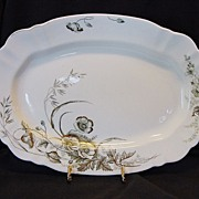 Awesome 118 Year Old English Platter ~ Design of Poppies with Gold  ~ John Edwards England 1891
